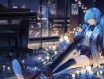 1girl arm_support bangs belt belt_buckle black_footwear black_gloves black_legwear black_shorts blue_eyes blue_hair blush buckle building cable candle christmas_lights city city_lights cityscape closed_mouth collared_shirt commentary_request eyebrows_visible_through_hair gloves hair_between_eyes hair_ornament hand_up hatsune_miku headphones headphones_around_neck holding hood hood_down hooded_jacket indoors instrument jacket long_hair long_sleeves looking_at_viewer microphone_stand night night_sky open_clothes open_jacket paper piano piano_bench popuru reclining reflection sheet_music shirt shoes short_shorts shorts sidelocks sky skyscraper smile sneakers solo thigh-highs twintails very_long_hair vocaloid white_jacket white_shirt window