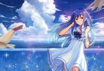 1girl :o ame_sagari animal bangs bird blue blue_hair blue_neckwear blue_ribbon blue_sky blurry blush bow bowtie brown_eyes clouds cloudy_sky collarbone commentary_request day depth_of_field dress floating_hair flock glint hand_in_hair hands_up horizon long_hair looking_at_viewer ocean original outdoors parted_lips ribbon sailor_collar sailor_dress scenery short_sleeves sidelocks sky solo standing water water_drop white_dress white_sailor_collar wind