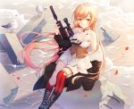 1girl absurdres animal arm_support bangs bare_shoulders beach bird black_coat black_footwear black_neckwear blonde_hair blush boots bra braid breasts choker cleavage coat collared_shirt commentary_request cross-laced_footwear day eyebrows_visible_through_hair fur-trimmed_coat fur_trim girls_frontline gun hand_up highres holding holding_gun holding_weapon huge_filesize ion_(on01e) long_hair long_sleeves looking_at_viewer medium_breasts miniskirt mismatched_legwear neckerchief ocean off_shoulder open_clothes open_coat ots-14 ots-14_(girls_frontline) outdoors parted_lips pleated_skirt red_bra red_legwear rifle rock scope seagull shirt sidelocks sitting skirt sleeveless sleeveless_shirt soaking_feet solo star striped striped_legwear torn_clothes torn_legwear underbust underwear very_long_hair water weapon white_shirt white_skirt yellow_eyes