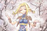 1girl blonde_hair braid breasts cherry_blossoms closed_eyes commentary_request final_fantasy final_fantasy_xii kimagureneko long_hair nature penelo petals smile solo twin_braids twintails