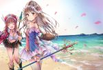 2girls :d alt atelier_(series) atelier_totori bag bangle bare_shoulders beach black_skirt blush boots bracelet breasts brown_eyes brown_hair clenched_hand closed_mouth collarbone day eyebrows_visible_through_hair footprints hat head_tilt headdress highres holding holding_staff jewelry leaning_forward long_hair looking_at_viewer looking_back medium_breasts multiple_girls necklace open_mouth outdoors petals pleated_skirt rororina_fryxell skirt sky smile sparkle staff totooria_helmold very_long_hair water wind