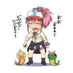 1girl bow bracelet caterpie caterpillar clothes_around_waist creatures_(company) crying game_freak gen_1_pokemon hair_bow hat idolmaster idolmaster_cinderella_girls jacket_around_waist jewelry jougasaki_mika nintendo pink_hair poke_ball pokemon pokemon_(game) taru_haru weedle white_background