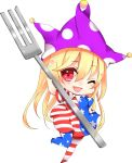 1girl ;d american_flag_dress american_flag_legwear arm_up bangs blonde_hair blue_dress blue_legwear blush breasts chibi clownpiece commentary_request dress eyebrows_visible_through_hair fork full_body hair_between_eyes hand_on_hip hat heart highres holding holding_fork jester_cap leg_up long_hair looking_at_viewer natsuki_(ukiwakudasai) neck_ruff no_shoes one_eye_closed open_mouth pantyhose polka_dot polka_dot_hat purple_hat red_dress red_eyes red_legwear short_sleeves simple_background small_breasts smile solo star star_print striped striped_dress striped_legwear thighs touhou white_background white_dress white_legwear