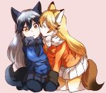 2girls animal_ears bangs black_gloves black_hair black_legwear black_neckwear black_skirt blazer blue_jacket cheek_licking closed_eyes commentary extra_ears ezo_red_fox_(kemono_friends) face_licking facing_another fox_ears fox_tail fur-trimmed_sleeves fur_trim gloves gradient_legwear hand_on_another's_knee jacket kemono_friends kneeling leaning_to_the_side licking light_blush light_frown long_hair looking_at_viewer miniskirt multicolored_hair multiple_girls oono_imo orange_eyes orange_jacket pantyhose parted_lips pink_background pleated_skirt seiza silver_fox_(kemono_friends) silver_hair simple_background sitting skirt tail two-tone_hair white_neckwear white_skirt yellow_legwear