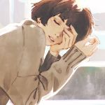 1girl bangs brown_hair closed_eyes commentary english_commentary hand_over_eye highres ilya_kuvshinov leaning_forward long_sleeves original parted_lips short_hair solo sweater white_sweater