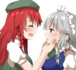 2girls :d blue_vest blush braid closed_eyes commentary_request crying crying_with_eyes_open eyebrows_visible_through_hair facing_another flat_cap from_side green_neckwear green_vest guard_bento_atsushi hair_ribbon hands_on_another's_face hat highres hong_meiling izayoi_sakuya long_hair looking_at_viewer multiple_girls neck_ribbon open_mouth profile puffy_short_sleeves puffy_sleeves red_eyes redhead ribbon shirt short_hair short_sleeves sideways_mouth silver_hair simple_background smile streaming_tears tears touhou tress_ribbon upper_body vest white_background white_shirt yuri
