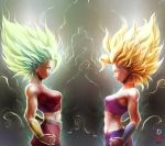 2girls blonde_hair breasts caulifla clenched_hands dragon_ball dragon_ball_super eye_contact green_eyes highres kale_(dragon_ball) looking_at_another medium_breasts midriff multiple_girls muscle signature skirt spiky_hair strapless super_saiyan tank_top tete_(amakuchichiyoko) tubetop