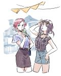 2girls :o bangs black_choker black_ribbon blue_eyes blue_shirt checkered checkered_shirt choker cowboy_shot cup drinking drinking_straw expressionless eyewear_removed hand_on_hip looking_away mila_babicheva multiple_girls open_mouth purple_hair redhead ribbon sara_crispino shirt shorts simple_background skirt standing striped striped_shirt sunglasses teeth thighs tied_hair upper_body upper_teeth vertical-striped_shirt vertical_stripes violet_eyes white_background yuri!!!_on_ice