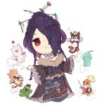 1girl bare_shoulders belt belt_buckle black_dress braid breasts buckle cait_sith chibi cleavage closed_mouth dress final_fantasy final_fantasy_x full_body fur_collar hair_ornament hair_over_one_eye hair_stick jewelry kawasumi_(pixiv326156) lipstick long_hair long_sleeves looking_at_viewer lulu_(ff10) makeup mole mole_under_mouth moogle moomba necklace off-shoulder_dress off_shoulder onion_knight pupu_(ff8) purple_hair purple_lipstick red_eyes sabotender smile solo stuffed_toy wide_sleeves