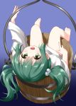 1girl :d bare_legs barefoot bottomless bucket eyebrows_visible_through_hair feet gradient gradient_background green_eyes green_hair hair_bobbles hair_ornament highres in_bucket in_container japanese_clothes kisume long_hair long_sleeves looking_at_viewer lying on_back open_mouth purple_background ruu_(tksymkw) sitting smile solo touhou twintails upside-down wooden_bucket