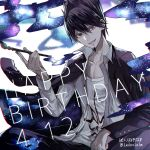 1boy bear black_hair black_jacket black_pants brown_eyes collarbone danganronpa dated dress_shirt grin hair_between_eyes happy_birthday holding jacket long_sleeves looking_at_viewer male_focus momota_kaito new_danganronpa_v3 open_clothes open_jacket open_shirt pants print_shirt shirt sitting smile solo spiky_hair twitter_username white_shirt z-epto_(chat-noir86)