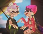 +_+ 2girls :d aori_(splatoon) beanie black_hair closed_eyes cousins domino_mask earrings green_umbrella grin hair_rings hat highres holding holding_umbrella hotaru_(splatoon) jacket japanese_clothes jewelry kimono long_hair long_sleeves mask mole mole_under_eye multiple_girls nimae04 obi open_clothes open_jacket open_mouth orange_eyes oriental_umbrella over_shoulder pink_hat pink_jacket pointy_ears sash short_hair silver_hair smile splatoon splatoon_(series) splatoon_2 suction_cups symbol-shaped_pupils teeth tentacle_hair umbrella