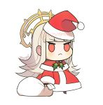 1girl artist_name chibi closed_mouth fate/extra fate/grand_order fate_(series) fire_emblem fire_emblem_heroes frown grey_hair hat highres intelligent_systems lazymimium long_hair long_sleeves nero_claudius_(fate)_(all) nero_claudius_(fate)_(cosplay) nintendo padoru red_eyes red_hat sack santa_costume santa_hat simple_background solo standing tokyo_mx twitter_username type-moon veronica_(fire_emblem) white_background