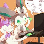 ! alternate_color artist_name bow commentary computer creatures_(company) english_text game_freak gen_6_pokemon green_eyes green_sclera keyboard monitor mouse_(computer) nintendo no_humans number orange_background osu! pokemon purpleninfy ribbon simple_background sweat sylveon tearing_up video_game