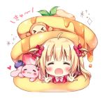 >_< 1girl :3 :d =_= ahoge animal bangs blonde_hair blueberry blush bow bowtie chibi commentary_request facing_viewer food fruit hair_bow heart in_food leaf long_hair lowres open_mouth original outstretched_arms pan_(mimi) pancake pink_neckwear rabbit red_bow red_shirt shirt simple_background smile solo stack_of_pancakes strawberry syrup ten-chan_(pan_(mimi)) two_side_up white_background