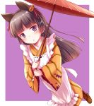 animal_ears apron black_hair blue_eyes blush boots cat_ears food_themed_hair_ornament gokou_ruri hair_ornament hair_ribbon halloween herunin highres hime_cut japanese_clothes kimono long_hair mole mole_under_eye ore_no_imouto_ga_konna_ni_kawaii_wake_ga_nai pumpkin_hair_ornament purple_background ribbon umbrella