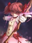 1girl aiming arrow artist_name bow bow_(weapon) buttons collarbone commentary drawing_bow dress english_commentary gloves hair_bow highres holding holding_arrow holding_bow_(weapon) holding_weapon kaname_madoka mahou_shoujo_madoka_magica novcel outstretched_arm pink_eyes pink_hair revision ringed_eyes serious solo star_(sky) twintails weapon