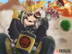 10307 1boy 2girls black_dress blonde_hair blue_earrings blue_shell bound bowsette bracelet breasts cleavage collar commentary dress driving english_commentary facial_hair go_kart ground_vehicle horns jewelry kidnapping large_breasts mario mario_(series) mario_kart motor_vehicle motorcycle multiple_girls mustache new_super_mario_bros._u_deluxe nintendo pointy_ears ponytail princess_peach racing_suit sharp_teeth spiked_armlet spiked_bracelet spiked_collar spiked_shell spiked_tail spikes strapless strapless_dress super_crown tail teeth tied_up tongue tongue_out turtle_shell