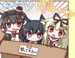 3girls :d anchor_symbol animal_ear_fluff animal_ears asashio_(kantai_collection) bangs black_gloves black_hair black_hairband black_ribbon black_shirt blonde_hair blue_eyes blue_sailor_collar blush_stickers box cardboard_box commentary_request dog_ears dress_shirt emphasis_lines eyebrows_visible_through_hair fang fingerless_gloves gloves gradient_hair grey_hair hair_between_eyes hair_ornament hair_ribbon hairband hairclip in_box in_container kantai_collection kemonomimi_mode komakoma_(magicaltale) long_hair long_sleeves looking_at_viewer multicolored_hair multiple_girls open_mouth red_eyes remodel_(kantai_collection) ribbon sailor_collar scarf school_uniform serafuku shirt short_sleeves smile smokestack_hair_ornament tokitsukaze_(kantai_collection) translated white_scarf white_shirt yuudachi_(kantai_collection)