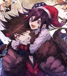 2boys :d bat brown_eyes brown_hair danganronpa fang floating_hair ghost gloves grin halloween halloween_costume hat highres male_focus momota_kaito multiple_boys nanin new_danganronpa_v3 one_eye_closed open_mouth ouma_kokichi paw_gloves paws red_hat santa_hat short_hair smile violet_eyes