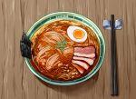 absurdres bowl chopsticks egg food from_above highres indoors meat no_humans noodles original ramen seaweed table wq112