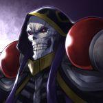 1boy ainz_ooal_gown hood hood_up male_focus overlord_(maruyama) red_eyes skull solo vanzan