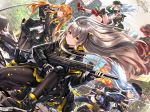 404_(girls_frontline) 4girls :q aircraft arm_up armband assault_rifle bangs beret black_bow black_footwear black_gloves black_jacket black_shorts black_skirt blue_hair blush boots bow brown_eyes brown_hair brown_legwear building burning car closed_mouth commentary_request cross-laced_footwear day dress_shirt dutch_angle eyebrows_visible_through_hair fingerless_gloves fire flat_cap floating_hair g11 g11_(girls_frontline) girls_frontline gloves green_eyes green_hair green_jacket ground_vehicle gun h&k_ump45 h&k_ump9 hair_between_eyes hair_bow hair_ornament hairclip hand_on_headwear hat heckler_&_koch helicopter highres hk416 hk416_(girls_frontline) holding holding_gun holding_weapon holster jacket lace-up_boots long_hair long_sleeves looking_at_viewer motor_vehicle multiple_girls navel object_namesake one_knee one_side_up open_clothes open_jacket outdoors pantyhose parted_lips pleated_skirt purple_jacket purple_legwear red_eyes red_footwear rifle rubble scar scar_across_eye shirt shoe_soles short_shorts shorts silver_hair skirt skyscraper smile smoke standing swordsouls thigh-highs thigh_holster tongue tongue_out tree trigger_discipline twintails ump45_(girls_frontline) ump9_(girls_frontline) very_long_hair weapon white_gloves white_shirt