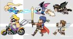 1girl 1other 4boys armor blonde_hair blue_bodysuit blue_hair bodysuit brown_hair chibi dark_pit deviantart facial_hair fire_emblem fire_emblem:_akatsuki_no_megami fire_emblem:_souen_no_kiseki galaxia_(sword) gloves hair_ornament hat headband high_ponytail hoshi_no_kirby ike intelligent_systems kid_icarus kid_icarus_uprising kirby_(series) kirby_(specie) long_hair mario_(series) mask meta_knight metroid mike_luckas mole mole_under_mouth mustache nintendo nintendo_ead pit_(kid_icarus) ponytail ragnell retro_studios samus_aran shiny shiny_clothes short_hair simple_background skin_tight smile sora_(company) super_mario_bros. super_smash_bros. super_smash_bros._ultimate super_smash_bros_brawl super_smash_bros_for_wii_u_and_3ds sword wario wario_land warioware weapon wings zero_suit