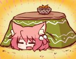 1girl 7th_dragon 7th_dragon_(series) :d =_= animal_ear_fluff animal_ears bangs basket blush cat_ears closed_eyes eyebrows_visible_through_hair facing_viewer fang food fruit hair_between_eyes hair_bobbles hair_ornament harukara_(7th_dragon) head kotatsu lying mandarin_orange naga_u on_stomach one_side_up open_mouth pink_hair sidelocks smile solo table under_kotatsu under_table