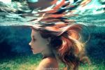 1girl brown_hair closed_eyes closed_mouth commentary english_commentary floating_hair highres long_hair nude original out-of-frame_censoring photo-referenced profile refraction solo underwater watermark web_address wenqing_yan