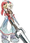 1boy blonde_hair character_request closed_mouth curly_hair green_eyes hair_over_one_eye hat holding holding_weapon legend_of_mana red_hat s-a-murai seiken_densetsu simple_background sketch smile solo standing toto_(lom) weapon weapon_request white_background