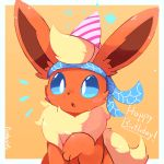 :o artist_name blue_eyes blue_sclera border commentary creatures_(company) english flareon game_freak gen_1_pokemon happy_birthday headband nintendo no_humans orange_background paw_pose pointy_hat pokemon pokemon_(creature) purpleninfy simple_background star white_border
