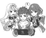 2girls armor bangs black_hair blush bodysuit controller fingerless_gloves game_console game_controller gloves handheld_game_console hikari_(xenoblade_2) holding homura_(xenoblade_2) joy-con kamu_(kamuuei) long_hair monochrome multiple_girls nintendo nintendo_switch open_mouth playing_games rex_(xenoblade_2) short_hair smile xenoblade_(series) xenoblade_2