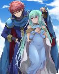 1boy 1girl armor ataka_takeru bare_shoulders blue_hair blush cape dress eliwood_(fire_emblem) fingerless_gloves fire_emblem fire_emblem:_rekka_no_ken fire_emblem_heroes gloves hair_ornament long_hair looking_at_viewer mamkute ninian nintendo open_mouth red_eyes redhead short_hair simple_background smile