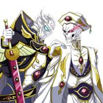 2boys ainz_ooal_gown armor black_sclera code_geass cosplay gloves hand_on_shoulder hat holding holding_sword holding_weapon lelouch_lamperouge lelouch_lamperouge_(cosplay) multiple_boys nekomaestra9 overlord_(maruyama) red_eyes simple_background skeleton sparkle sword touch_me weapon white_background