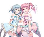 2girls akata_itsuki bang_dream! blue_hair dress frills green_eyes highres hikawa_hina long_hair looking_at_viewer maruyama_aya microphone multiple_girls open_mouth pastel_palettes pink_eyes pink_hair smile thigh-highs twintails v white_legwear