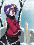 1girl :o adapted_costume black_gloves black_scarf black_skirt blue_eyes blue_hair bright_pupils commentary_request day from_side gloves hat highres jakomurashi long_sleeves looking_at_viewer miyako_yoshika ofuda outdoors purple_hat red_sweater scarf short_hair skirt snow snowing solo standing star sweater touhou tree winter