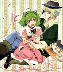 1boy 1girl ahoge alternate_costume animal animal_ears bespectacled black_cat bow brera_sterne brother_and_sister calico cat cat_ears cero_(cerocero) dress fake_animal_ears frills fur_trim glasses green_hair hairband hat holding holding_animal holding_cat kitten looking_at_viewer macross macross_frontier open_mouth pantyhose pink_dress pointy_ears ranka_lee red_eyes red_string scissors short_hair siblings smile string white_cat wrist_cuffs