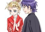 1boy 1girl 90s :d blonde_hair blue_eyes blush chrono_cross colored_eyelashes couple eyelashes floral_print hands_up hetero japanese_clothes kid_(chrono_cross) kimono long_sleeves looking_at_another looking_away open_mouth print_kimono purple_hair red_kimono s-a-murai serge short_hair shy simple_background sketch smile upper_body white_background wide_sleeves