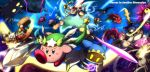 adeleine armor bandanna breathing_fire cape clenched_teeth coo_(kirby) dark_meta_knight daroach ddddndn dirty electricity energy_ball everyone fire flying galaxia_(sword) glowing glowing_eyes gooey gun hammer hat highres kine_(kirby) king_dedede kirby kirby:_star_allies kirby_(series) kracko magolor marx mask mecha meta_knight nintendo open_mouth polearm ribbon_(kirby) rick_(kirby) scar space spear susie_(kirby) sword taranza teeth tongue tongue_out top_hat waddle_dee wand weapon whispy_woods