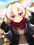 1girl :d alternate_costume animal_ears autumn autumn_leaves bag bangs black_gloves black_hair black_jacket blonde_hair blush brown_sweater casual commentary contemporary day dutch_angle extra_ears eyebrows_visible_through_hair fang fennec_(kemono_friends) fox_ears fox_tail gloves hair_between_eyes hands_up highres jacket kemono_friends kinou_no_shika leaf lips long_sleeves looking_at_viewer medium_hair multicolored_hair open_clothes open_jacket open_mouth outdoors plaid_neckwear red_eyes red_scarf scarf shoulder_bag skirt smile solo sweater tail upper_body white_hair winter_clothes
