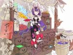 1girl anklet barefoot barefoot_sandals basket book bow chest_of_drawers closed_eyes colorful cursive doll drawer fate/grand_order fate_(series) gem horns jewelry label merchants_chest money nunnun000nunnun oni purple_hair rope shimenawa shuten_douji_(fate/grand_order) sitting sitting_on_object smile toes tub