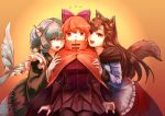 3girls ;d animal_ears bangs black_legwear black_skirt blouse blue_eyes blue_hair bow breasts brooch brown_hair cloak colored_eyelashes commentary_request drill_hair fangs flying_sweatdrops frills green_kimono hair_bow head_fins highres imaizumi_kagerou japanese_clothes jewelry kimono long_hair long_sleeves looking_at_viewer medium_breasts mermaid miniskirt monster_girl multiple_girls one_eye_closed open_mouth orange_background purple_bow red_eyes red_skirt redhead reika_winter scales sekibanki short_hair skirt smile sweatdrop tail thigh-highs touhou wakasagihime white_blouse wolf_ears wolf_girl wolf_tail