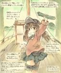 1girl arm_up brown_eyes brown_hair dated flat_chest food grin jacket kantai_collection kirisawa_juuzou mountain red_jacket ryuujou_(kantai_collection) ship skirt smile solo traditional_media translation_request twintails twitter_username visor_cap watercraft
