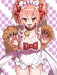 1girl absurdres animal_ear_fluff animal_ears apron bell bell_collar blush_stickers breasts cat_hair_ornament cat_paws cleavage collar collarbone fangs fate/grand_order fate_(series) fox_ears fox_tail gloves hair_ornament highres jingle_bell large_breasts long_hair looking_at_viewer maid_headdress naked_apron ohihil open_mouth paw_gloves paws pink_hair ponytail solo tail tamamo_(fate)_(all) tamamo_cat_(fate) tongue tongue_out