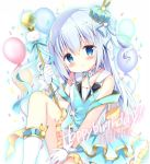 1girl azumi_kazuki balloon bangs bare_shoulders blue_dress blue_eyes blue_hair blue_ribbon blush boots bow breasts character_name closed_mouth collarbone commentary_request crown dress eyebrows_visible_through_hair gloves gochuumon_wa_usagi_desu_ka? hair_between_eyes hair_ornament hair_ribbon happy_birthday head_tilt holding kafuu_chino knee_up long_hair microphone mini_crown ribbon sitting sleeveless sleeveless_dress small_breasts smile solo tilted_headwear two_side_up very_long_hair white_footwear white_gloves x_hair_ornament yellow_bow