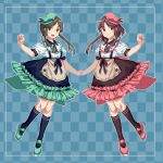 2girls alternate_costume alternate_hair_color alternate_headwear aqua_footwear arm_up black_hair black_legwear blue_background blue_legwear blue_skirt border brown_eyes brown_skirt checkered checkered_background curled_fingers flat_cap frilled_skirt frills furahata_gen hand_holding hat highres kneehighs looking_at_viewer multiple_girls nishida_satono open_mouth pink_footwear puffy_short_sleeves puffy_sleeves purple_hair shirt short_sleeves sidelocks skirt smile suspender_skirt suspenders symmetry teireida_mai touhou violet_eyes white_shirt wing_collar