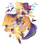 1girl :d alternate_costume ankle_boots bag bat black_footwear black_skirt blonde_hair blush boots bow candy candy_wrapper cape checkerboard_cookie claw_pose cookie crystal fang flandre_scarlet food full_body ghost gingerbread_man gloves grey_gloves halloween hand_up handbag hat hat_bow heart high-waist_skirt high_heel_boots high_heels jack-o'-lantern lollipop looking_at_viewer one_side_up open_mouth outstretched_arm paragasu_(parags112) petticoat red_bow red_eyes shirt shoulder_bag simple_background skirt sleeveless sleeveless_shirt smile solo star striped striped_legwear swirl_lollipop thigh-highs touhou vertical-striped_legwear vertical_stripes white_background white_shirt wings witch_hat wrapped_candy yellow_legwear zettai_ryouiki