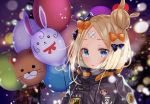 1girl abigail_williams_(fate/grand_order) balloon bandaid black_bow black_jacket blonde_hair blue_eyes blush bow breath commentary_request eyebrows_visible_through_hair fate/grand_order fate_(series) hair_bow hair_bun heroic_spirit_traveling_outfit jacket lens_flare looking_at_viewer natsuki_(ukiwakudasai) orange_bow parted_lips solo upper_body