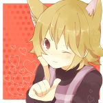 1girl animal_ears bad_id bad_pixiv_id blonde_hair blush heart looking_at_viewer one_eye_closed pixiv_id_2076517 short_hair solo turtleneck urotsuki wolf_ears yume_2kki